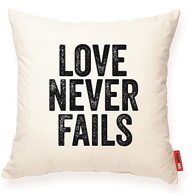 Posh365 Expressive ''Love Never Fails'' Decorative Cotton Throw Pillow