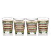 Fiesta Stripes 15 Oz. Double Old Fashioned Glass (Set of 4); Cobalt/Scarlet/Shamrock/Sunflower