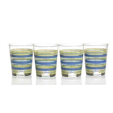 Fiesta Stripes 15 Oz. Double Old Fashioned Glass (Set of 4); Lapis/Lemongrass/Turquoise/Sunflower