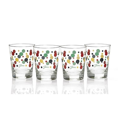 Fiesta Dot 15 Oz. Double Old Fashioned Glass (Set of 4); Cobalt/Scarlet/Shamrock/Sunflower