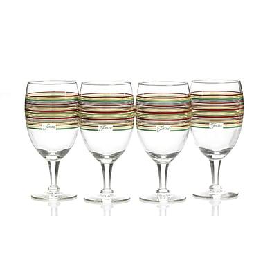 Fiesta Stripes All Purpose Goblet (Set of 4); Cobalt/Scarlet/Shamrock/Sunflower