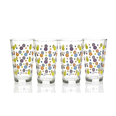 Fiesta Dot 16 Oz. Tapered Cooler Glass (Set of 4); Lemongrass/Peacock/Plum/Tangerine
