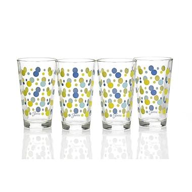 Fiesta Dot 16 Oz. Tapered Cooler Glass (Set of 4); Lapis/Lemongrass/Turquoise/Sunflower