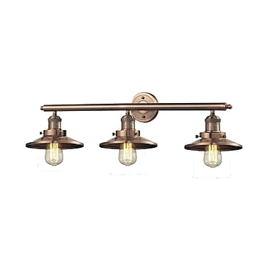 Innovations Lighting 3-Light Railroad Shade Wall Sconce; Antique Copper
