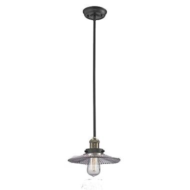 Innovations Lighting Holophone Glass 1-Light Pendant; Black/Brushed Brass
