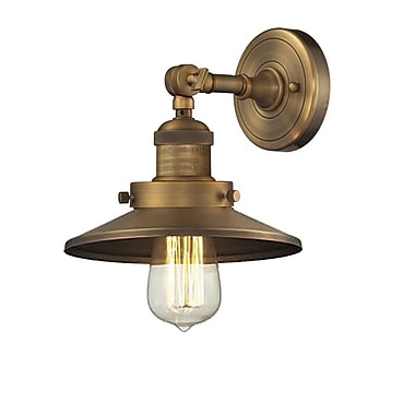 Innovations Lighting 1-Light Railroad Shade Wall Sconce; Brushed Brass