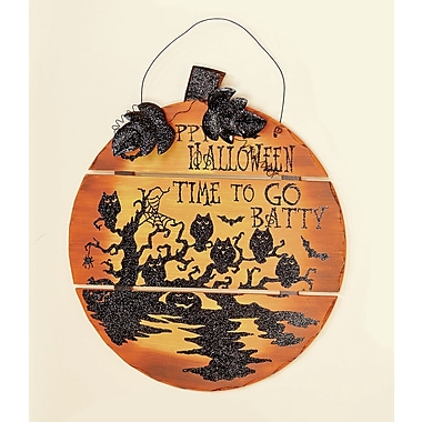 Worth Imports Wall Hanging Happy Halloween Wooden Pumpkin
