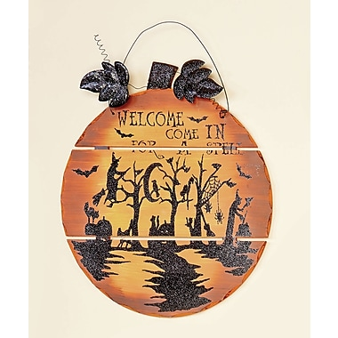 Worth Imports Wall Hanging Welcome Wooden Pumpkin
