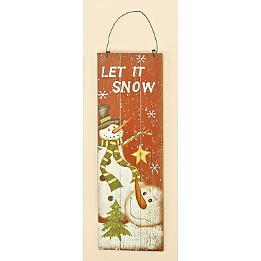 Worth Imports Wooden Let It Snow Snowman Scene Wall Hanging