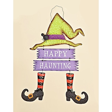 Worth Imports Witch and Hanging Sign w/ Happy Haunting Shaped Ornament