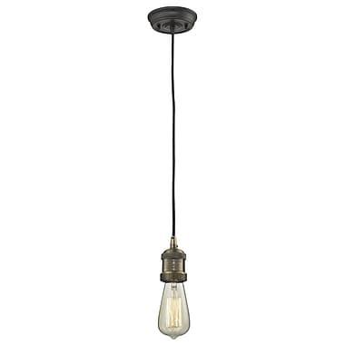 Innovations Lighting Bare Bulb 1-Light Mini Pendant; Black Brushed Brass