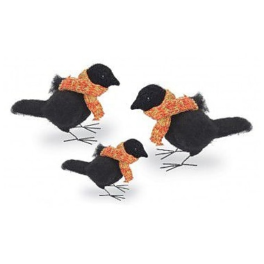Boston International 3 Piece Felted Raven Figurines w/ Scarf Set