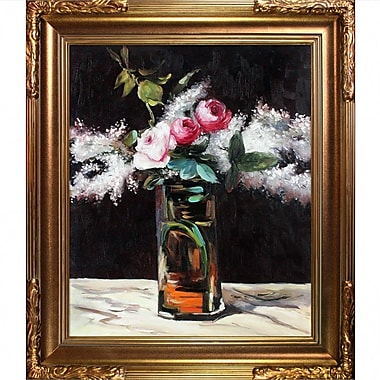 Tori Home Roses et Lilas by Edouard Manet Framed Painting Print on Wrapped Canvas