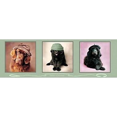 Affiche chiens futés avec chapeaux, 12 x 36 po
