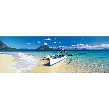 Affiche canoë à balancier sur la plage, 36 x 12 po