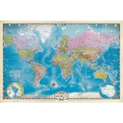 "Map of the World with Poles Poster, 24"" x 36"""