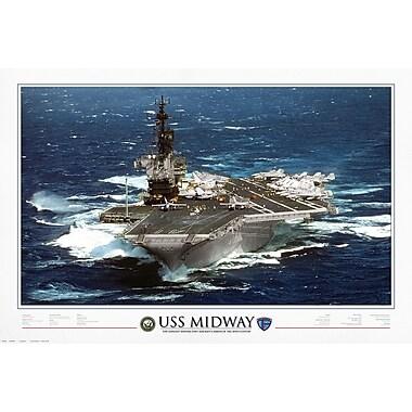Affiche porte-avions USS Midway 1945 à 1997, 24 x 36 po