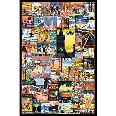 Affiche anciennes publicités de voyages dans le monde, 36 x 24 po