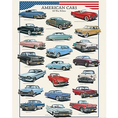 Affiche voitures américaines des années 1950, 15 3/4 x 19 3/4 po