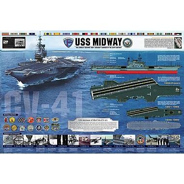 Affiche histoire de l'USS Midway, 24 x 36 po
