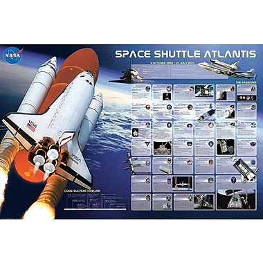 Affiche missions de la navette Atlantis, 24 x 36 po