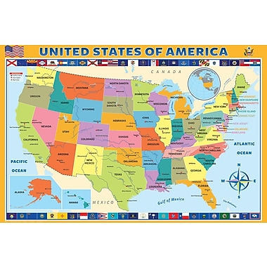 Affiche carte géographique des États-Unis, 36 x 24 po