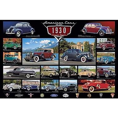 Affiche voitures classiques des années 1930, 36 x 24 po