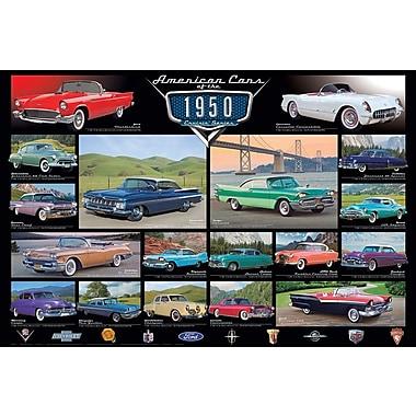 Affiche voitures classiques des années 1950, 36 x 24 po