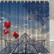 Ambesonne Poppies and the Sky Print Shower Curtain