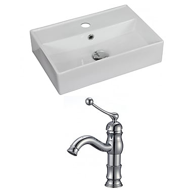 American Imaginations Ceramic 18'' Wall Mount Bathroom Sink w/ Faucet and Overflow