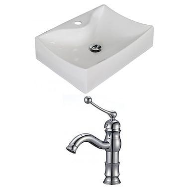 American Imaginations Ceramic 22'' Wall Mount Bathroom Sink w/ Faucet