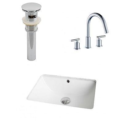 American Imaginations Ceramic Rectangular Undermount Bathroom Sink w/ Faucet and Overflow
