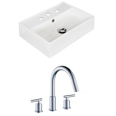 American Imaginations Ceramic 20'' Wall Mount Bathroom Sink w/ Faucet and Overflow