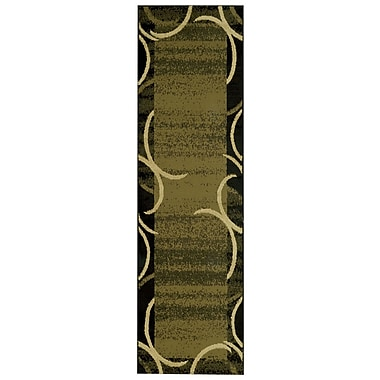 Rugnur Pasha Maxy Home Contemporary Arches French Border Green/Black Area Rug; Runner 2'7'' x 10'