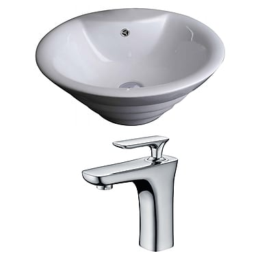 American Imaginations Circular Vessel Bathroom Sink w/ Overflow