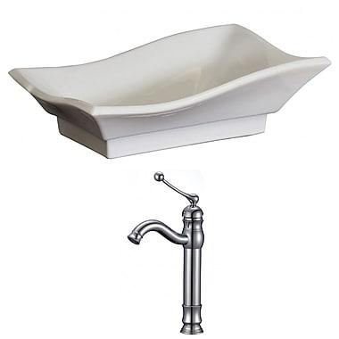American Imaginations Specialty Ceramic Specialty Vessel Bathroom Sink w/ Faucet