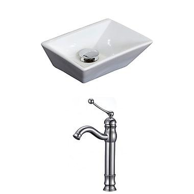 American Imaginations Emily Ceramic Rectangular Vessel Bathroom Sink w/ Faucet