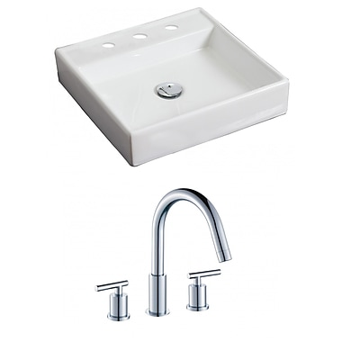 American Imaginations Ceramic Square Vessel Bathroom Sink w/ Faucet