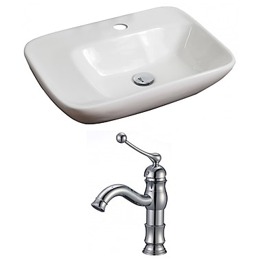 American Imaginations Ceramic Rectangular Vessel Bathroom Sink w/ Faucet