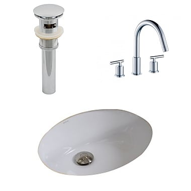 American Imaginations Ceramic Oval Undermount Bathroom Sink w/ Faucet and Overflow