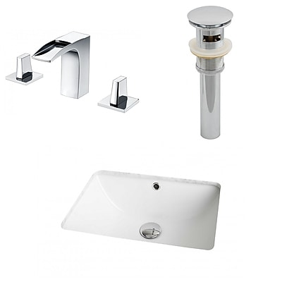 American Imaginations Ceramic Rectangular Undermount Bathroom Sink w/ Faucet and Overflow