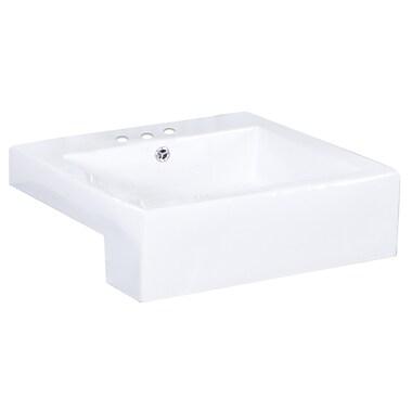 American Imaginations Xena Farmhouse Ceramic Rectangular Vessel Bathroom Sink w/ Overflow