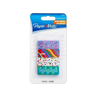 Paper Mate Expressions Decorated Eraser, 4/Pack