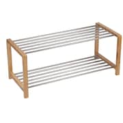 Household Essentials Bamboo and Steel Large Shoe Rack (2173-1)