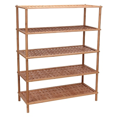 Household Essentials 5-Tier Bamboo Shoe Rack Basket Weave (2179-1)