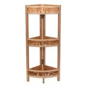 Household Essentials Bamboo 3-Shelf Corner Shelf, Slatted (2182-1)