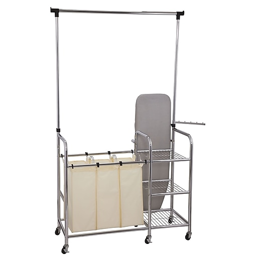 household essentials laundry station sorter with ironing board chrome 6017 1 staples. Black Bedroom Furniture Sets. Home Design Ideas