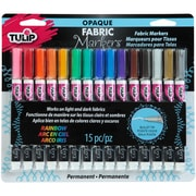 Tulip Opaque Fabric Markers 15/Pkg-Assorted