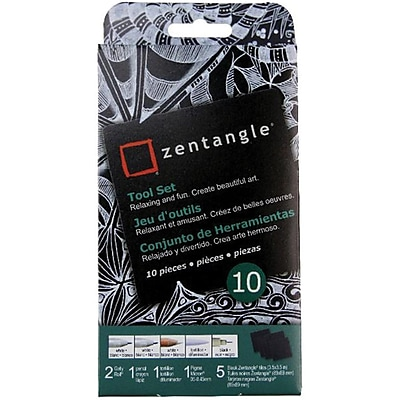 Sakura Zentangle Tool Set, Black Tiles, 10/Pack (50111)