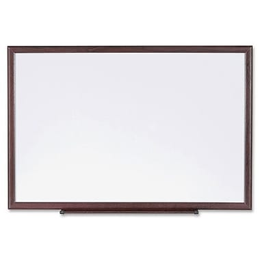 Dry-Erase Board, Wood Frame, 4' x 3', Brown/White